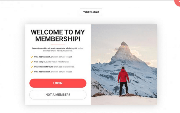 membership login template